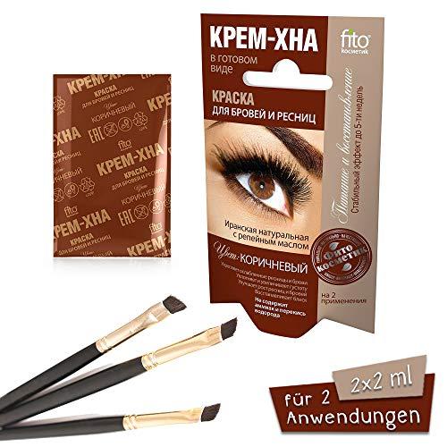 Henna Creme für Augenbrauen und Wimpern Farbe braun , 2 x 2 ml Краска для бровей и ресниц Крем-хна цвет: Коричневый (на 2 применения