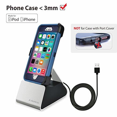 Avantree Docking Station mit Apple Mfi Lightning Kabel, Unterstützt Dicke HandyHüllen, USB Sync & Dock Ladestation Ladedock Docking Station Kompatibel mit iPhone 11 Pro Max, Xs, X, 8, 7,6s Plus