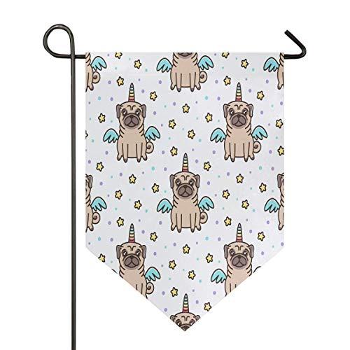 jenny-shop Einhorn Mops Flügel Stern Garten Flagge Geburtstag niedlichen Hund Welpen Polka Dot doppelseitig 12,5 x 18 Zoll
