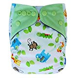 Ecoable Charcoal Rayon from Bamboo Aio Cloth Diaper with Pocket, Animals