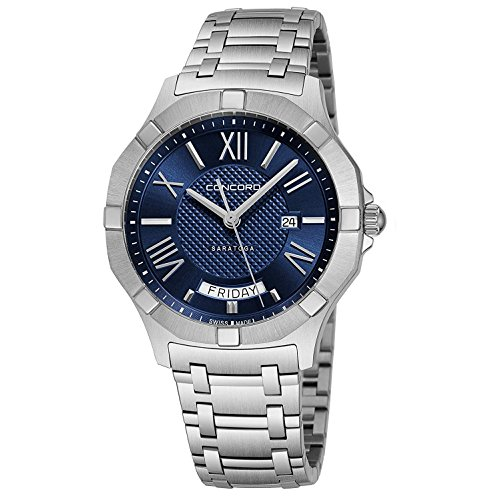 Concord da uomo 40 mm Steel Bracelet & case Swiss Quartz Blue Dial Watch...