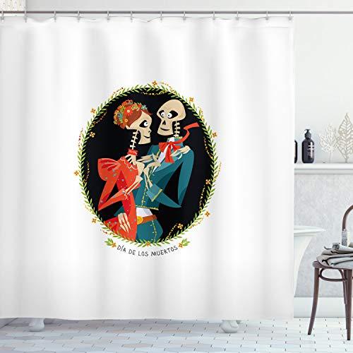 ABAKUHAUS Tag der Toten Duschvorhang, Skelett Paar, mit 12 Ringe Set Wasserdicht Stielvoll Modern Farbfest und Schimmel Resistent, 175x180 cm, Mehrfarbig