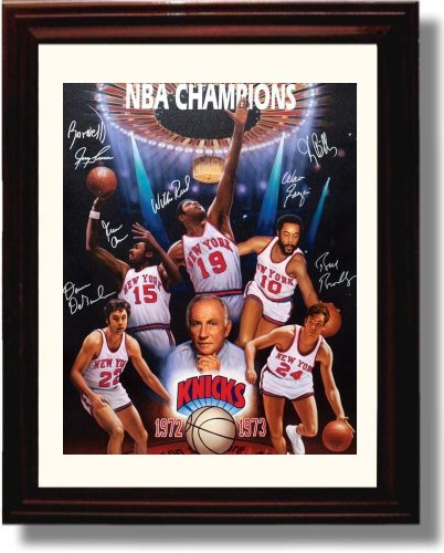 Framed 1972-73 New York Knicks Team Autograph Replica Print - New York Knicks - Champions Commemorative image