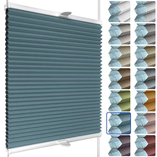 SchattenFreude Waben-Plissee nach Maß für Fenster & Tür | 100% verdunkelnd/Blackout | Zum Anschrauben in der Glasleiste | Pastellblau (Weiße Rückseite), Breite: 20-50cm x Höhe: 30-100cm