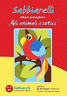 Sabbiarelli Sand-it For Fun - Album Exotische Dieren: 5 Zelfklevende Tekeningen om in te Kleuren met Zand (niet inbegrepe...