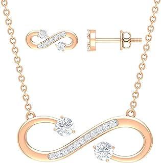 مجموعة 1/2 قيراط من الماس البسيط والقلادة والقرط (جودة AAA)