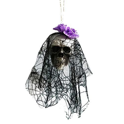 MOIX Halloween Türklingel Auge Halloween Dekoration Schaumschädel lila glühender Schaum Blume zubehör Pompon