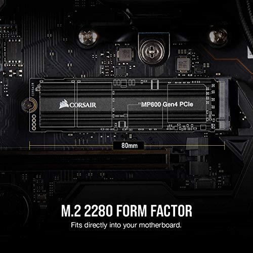 Corsair Force MP600 Unità SSD M.2 NVMe PCI-E x4 Gen4, Velocità Lettura e Scrittura Sequenziale Fino a 4.950 MB/s e 4.250 MB/s, 1 TB, Nero