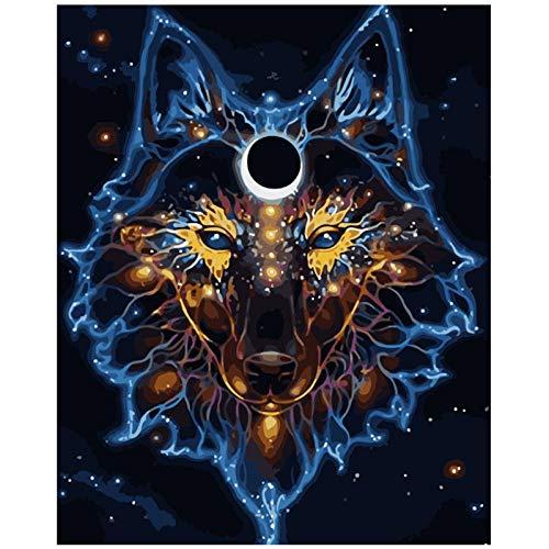 Kkooa Schilderen Op Nummer Voor Volwassenen Diy 50X65Cm Masker Achter De Wolf Dier Canvas Bruiloft Decoratie Kunstfoto Cadeau Zonder Lijst