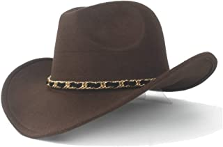 JIALANG Elegant Winter Cowboy Hat Wool General Western Fashion Western Cowboy Hat Fashion Female Braid with Outdoor Male Jazz Hat (Color : Coffee, Size : 56-58CM)