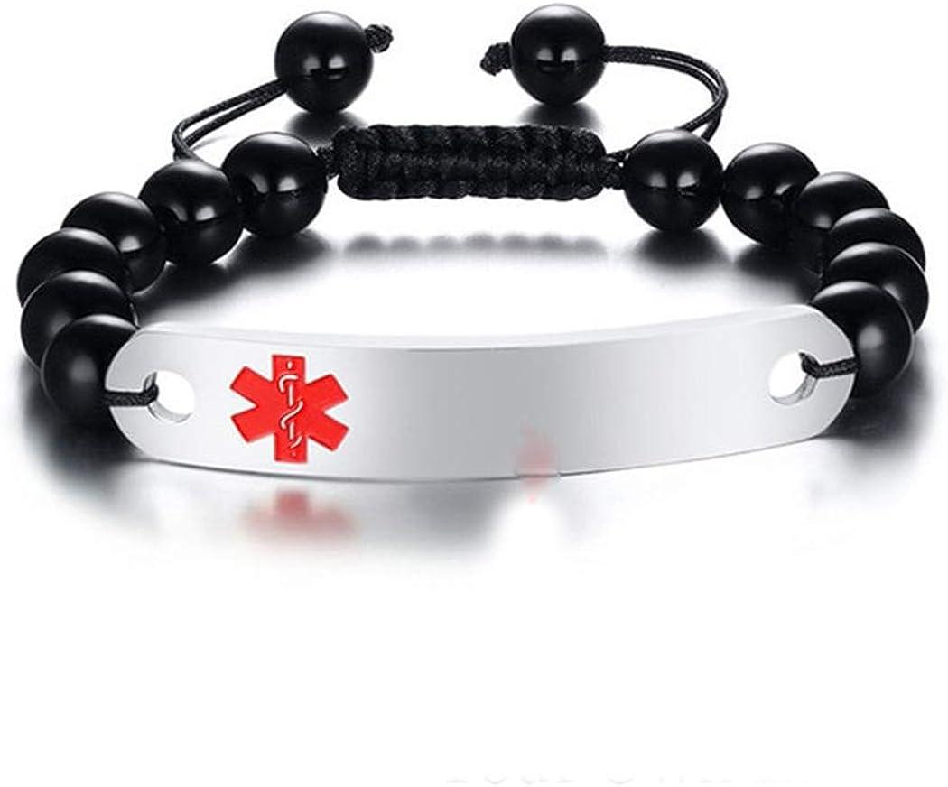 Free Engraving Personalized Custom Medical Alert ID Bracelets Polished Agate bead adjustable Unisex
