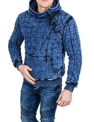 Behype - Sweat-Shirt à Capuche - Vintage - Homme - Bleu - Large