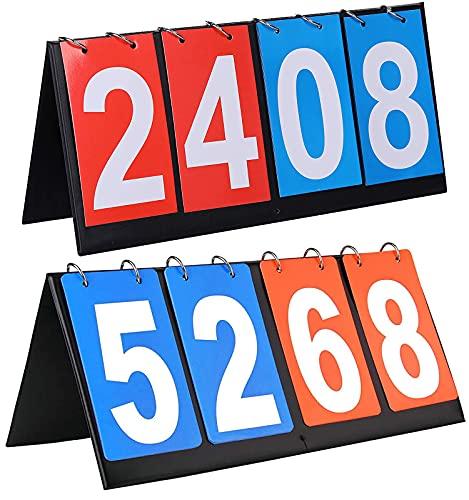 2 Pezzi Tabellone Segnapunti, 2/3/4 Cifre Portatili Flip Sport Scoreboard Tabellone Segnapunti da Tavolo Capovolgi Il Tabellone degli Sport per Basket Badminton Tabellone Segnapunti