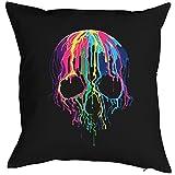 Kissen mit Füllung, Dekokissen, Sofakissen mit farbigen Totenkopf - Melting Skull