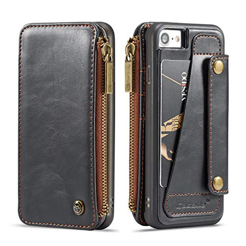 Wallet Leather Case for Apple iPhone 8 iPhone 7, Black 4 Card Slot (ID Card,Credit Card) 2 Money Pockets(one Zipper) Kickstand Full Protection 4.7inch Removable Design Best Gift for Girls Boys Unisex