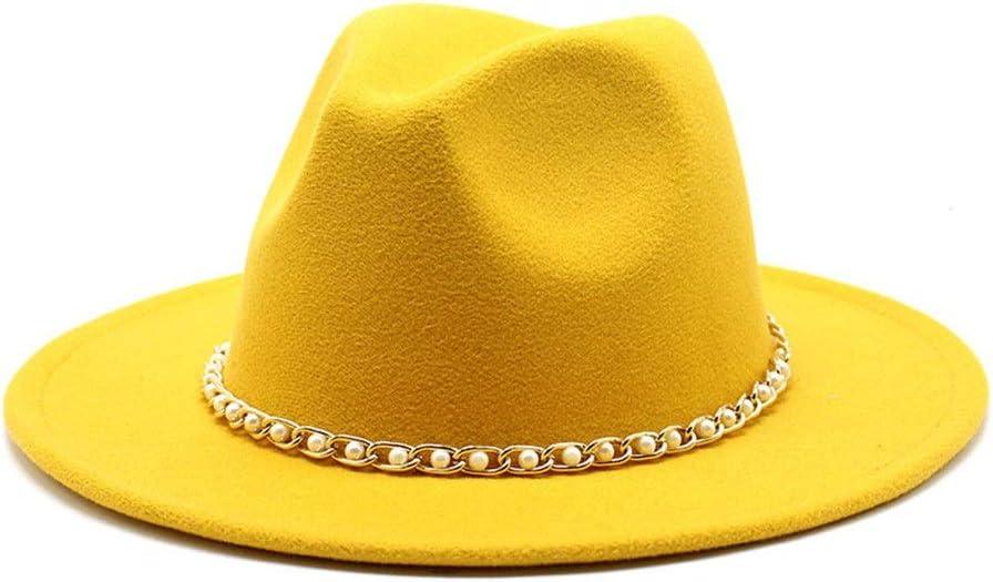 LHZUS Hats Man Woman Wide Brim Cotton Felt Hat Formal Party Jazz Trilby Fedora Hat Metal Chain Pearl Tassel Panama Straw Hat (Color : Yellow, Size : 56-58cm)