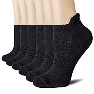 CelerSport Cushion No Show Tab Athletic Running Socks for Men and Women (6 Pairs),XL,Black