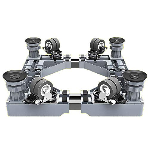 Mfnyp multifunctionele beweegbare basis met 4×2 vergrendelende rubberen draaibare wielen en 4 sterke voeten verstelbare standaard Roller Dolly voor wasmachine, droger en koelkast
