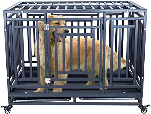 DYAO Heavy Duty Dog Crate Cage Kennel for Large Dogs, Dog Playpen Pet Cats House with Lockable Wheels and Trays, 46'' Flat Top2 Black Categories