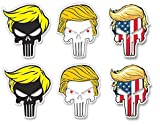 6 Pieces | Hard Hat Stickers | Trump with Hairs (Funny pro Donald Military GOP) USA Decals President Election