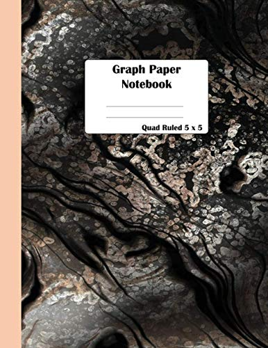 Graph Paper Notebook: Pink gold Marble Cute Math Composition Book Quad Ruled 5 x 5 Graphing Paper for Students: Large 8.5 x 11 in 100 pages