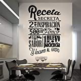 mlpnko Gran Receta Secreto Etiqueta de la Pared Cocina Restaurante Cocina Chef Receta Chef Etiqueta de la Pared Azulejo Cocina Vinilo 84X54cm
