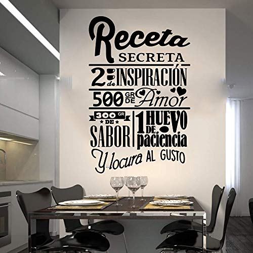 mlpnko Big Recipe Secret Wandaufkleber Küche Restaurant Koch Chef Rezept Chef Wandaufkleber Fliesen Küche Vinyl 56X36cm