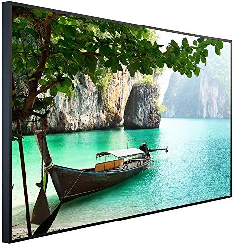 Ecowelle Infrarotheizung mit Bild | 900 Watt | 120x74x3cm | Infrarot Heizung| | Made in Germany | d 8 Boot auf einem See