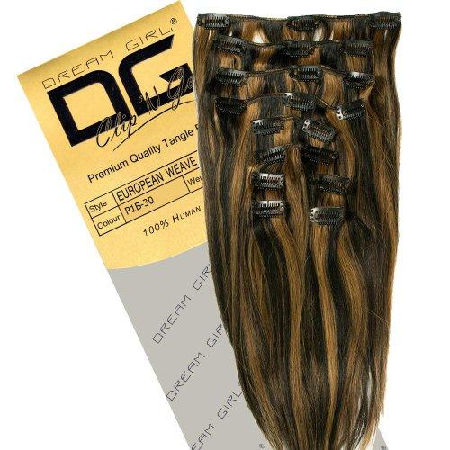 Dream Girl Extensions de cheveux à clipser Couleur 1B/30 35 cm