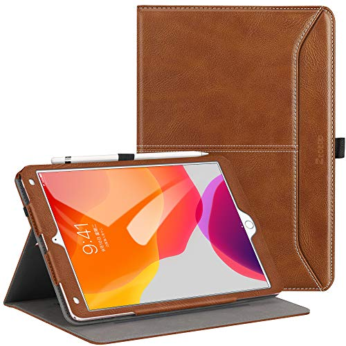 Ztotops Case for iPad 10.2 2019 (7th Generation),Premium Leather Business Folio Case Cover,with Stand,Pocket and Auto Wake/Sleep Function,Multi-angle Cover for iPad 10.2 inch,Brown