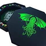 Fantasydice-Cthulhu Tome-Green - Dice Tray - 8' Octagon with Lid and Dice Staging Area- Holds 5 Sets( 7 Dice Set/ Standard) for All Tabletop RPGs Like D&D , Call of Cthulhu, Shadowrun.