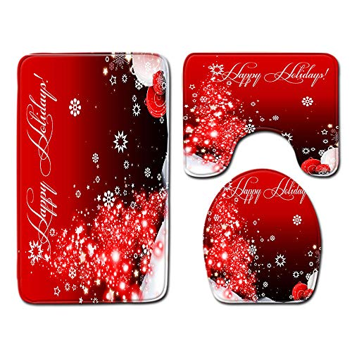 Juego de 3 Alfombrillas de baño Navidad Antideslizantes Absorbente Juego de Alfombrillas de baño+Alfombrilla de pie+Funda de Asiento de Inodoro extraíble
