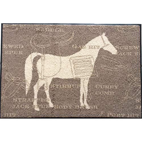 Waschbare Fußmatte - Cavallo - Pferd 50x75 cm Wash+Dry - Fußabstreifer mit Teppichflor - Pferdemotiv beige