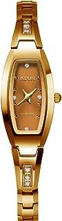 Women Lady Elegant Slim Bracelet Square Oval Faces Diamond Dress Waterproof Mechanical Automatic Wrist Watches, Silver/Rose Gold/Gold Tungsten Steel Tone
