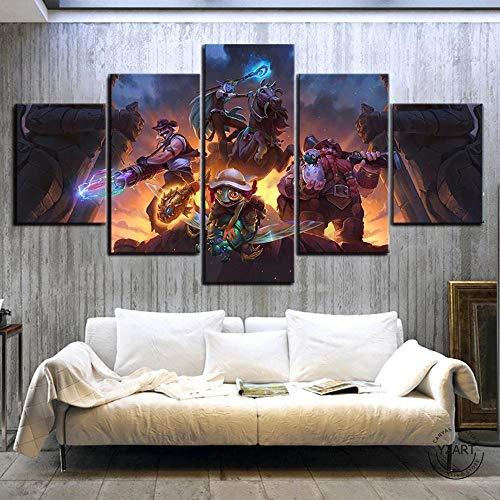 FDGJH 5 Piezas Cuadro sobre Lienzo De Fotos Póster Juego De Hearthstone HD Lienzo Impresión Cuadros Decoracion Salon Grandes Cuadros para Dormitorios Modernos Listo para Colgar/150x80CM