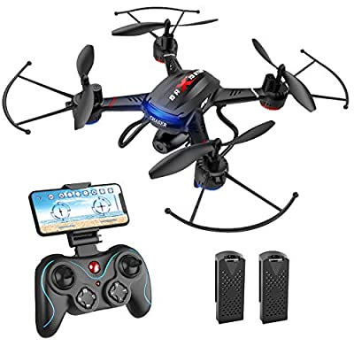 Holy Stone F181W 1080P WiFi FPV Drone with Wide-Angle HD Camera Live Video RC Quadcopter with Altitude Hold, Voice Control, Gesture Control and Easy to Fly for Beginner & Kids, 2 Batteries Included