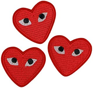LiZMS Iron Sew on Applique Patch : Heart Eyes (3 Patches)