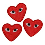 Ergonflow Iron Sew on Applique Patch : Heart Eyes (3 Patches)