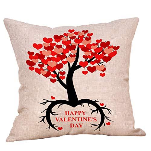 Yvelands Saint Valentin Style Lin Carré Taie d'oreiller Imprimé Romantique Doux Coussins Lombaires Coussins RelèVe-Jambes(E)