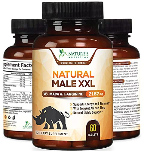 Natural Male XXL Tablets Natural Stamina, Strength & Endurance - Extra Strength Energy Support - Made in USA - Prime Performance Supplement for Men - 60 Tablets