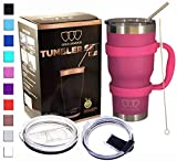 Gold Armour 30 oz Tumbler - 6 Piece Stainless Steel Insulated Water & Coffee Cup Tumbler with Straw, 2 Lids, Handle, Straw - 18/8 Double Vacuum Insulated Travel Flask (Pink)
