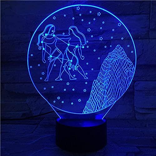 3D noche luz anime géminis zodíaco 3D ilusión lámpara regalo niños habitación decoración led iluminación decoración nueva mesa luces control remoto