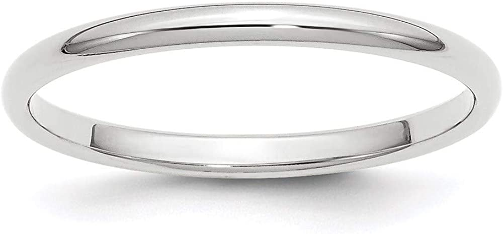 10 White Gold 2mm Half Round Wedding Ring Band Size 10.5 Classic Fashion Jewelry For Women Gifts For Her