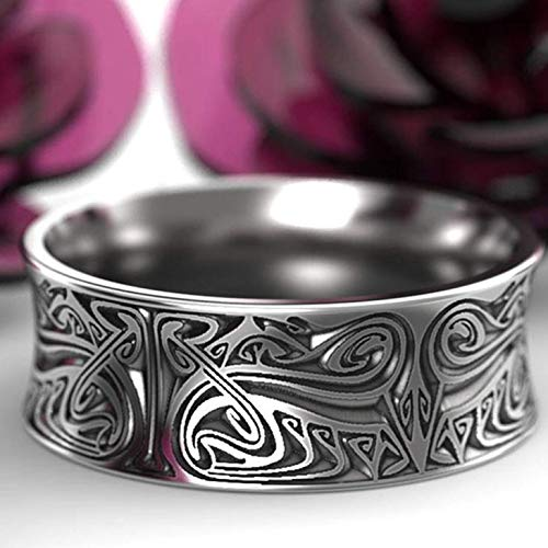 XINGSd Ample Nordic Viking Antique Silver Engraved Norse Wedding Ring Men Ring Size 6-13(None 11 SV-11)