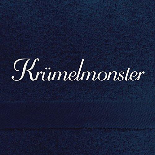 Handtuch mit Namen Krümelmonster bestickt, 50x100 cm, dunkelblau, extra flauschige 550 g/qm Baumwolle (100%), Badetuch mit Namen besticken, Duschtuch mit Bestickung