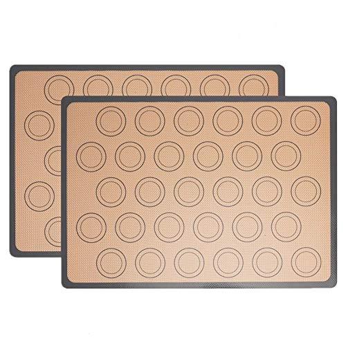 2 Pezzi Tappetino da Forno in Silicone 42×29.5cm Foglio da Forno in Silicone per Forme di Cottura Macaron dessert carne Antiaderente, Riutilizzabile BPA Gratuito con Strumenti da dessert Set (Gray)