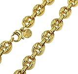 Lourd collier chaine grain de café or doublé largeur 10 mm longueur 60 cm Femme Homme Cadeau Bijoux de l'usine italienne...