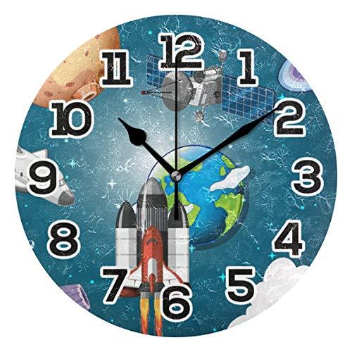 BONIPE Wanduhr für Weltraumschiff, Galaxie, Rocket Planet, Flugzeug, geräuschlos, Nicht tickend, Acryl, 23,9 cm, Dekoration, Büro, Schule, runde Uhr