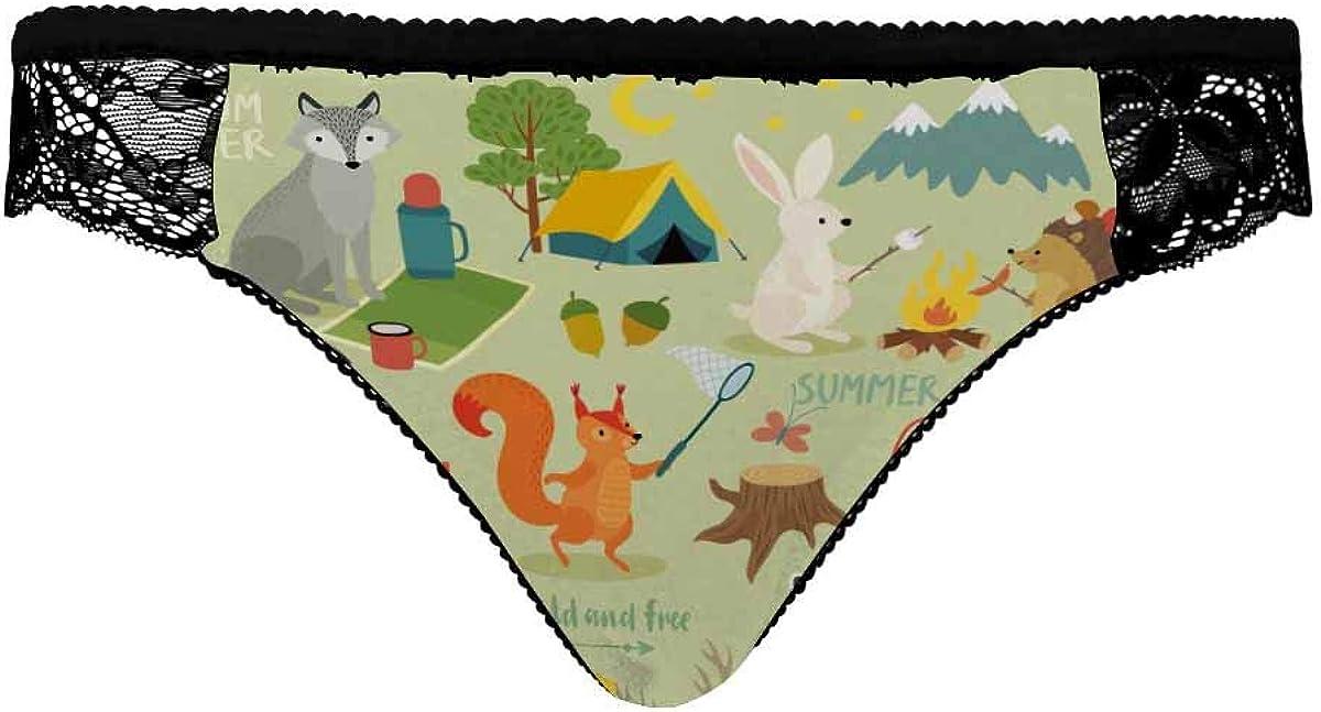 InterestPrint Women's Comforts Devotion Lace Back Tanga Panty Camping Animals