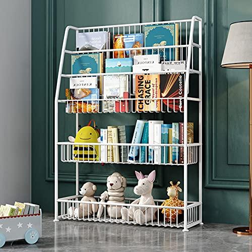 oxskk Niños Estante para Libro,5 Niños Estante De Libros Librería Infantil para Kid Toy Storage Organizer,Multiusos Piso Estantes De Almacenamiento De Pantalla-Blanco 75x25x110cm(30x10x43inch)